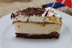 Marias Madside: Islagkage med browniebund, karamel og banan (Recipe in Danish) Frozen Yoghurt, Banan, Frozen Treats, Cakes And More, Popsicles, Sorbet, Cravings, Sweet Treats, Cheesecake
