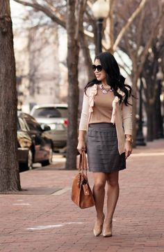cute & little blog   neutrals with a modern twist outfit   peach ruffle cardigan, camel sweater, gray tiered skirt, chloe + isabel morningtide necklace