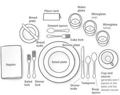 "How To Set A Formal Dinner Table ""Manners & Etiquette go hand in hand, but are not the same. Etiquette is a set of rules dealing with exterior form and Manners are an expression of inner character! Formal Dining Set, Formal Dinner, Fine Dining, Dining Sets, Table Setting Diagram, Tables Tableaux, Cena Formal, Dresser La Table, Table Place Settings"