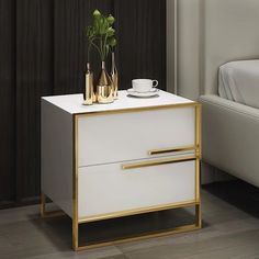 Modern 2 Drawer White / Black Lacquer Nightstand in Gold - Nightstands - Bedroom Furniture - Furniture Gold Bedroom Decor, Glam Bedroom, White Bedroom Furniture, Accent Furniture, Bedroom Ideas, Modern Furniture, Green Nightstands, White Nightstand, Bedside Chest