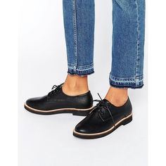 London Rebel Lace Up Flat Brogue Shoes ($57) ❤ liked on Polyvore featuring shoes, oxfords, black, grip shoes, kohl shoes, black lace up oxfords, black oxfords and black shoes