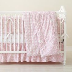 The Land of Nod | Baby Crib Bedding: Baby Crib Pink Floral & Lattice Print Bedding in Crib Bedding
