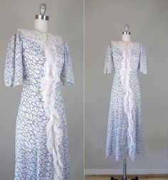 Vintage 1930s Dress // 30s Sheer White Cotton by RevolvingStyles, $105.00