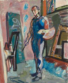 Max Gubler (Swiss, 1898-1973), Der Maler im Atelier - Unterengstringen [The Painter in his Studio, Unterengstringen], 1945. Oil on canvas, 61 x 50 cm.