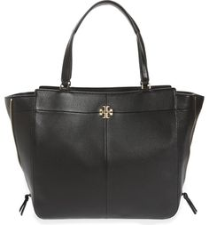 Crisp seaming and double-T logo hardware refine and update this lightly structured tote topped with easy over-the-shoulder handles, while the expandable side-zip gussets add a chic touch and can slightly alter the silhouette of the bag.
