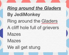 """Ring around the Gladers"" a parody of ring around the Rosie for the maze runner"