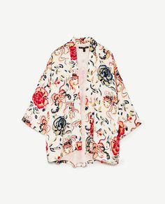 Zara Tops, Short Kimono, Kimono Top, Moda Kimono, Summer Coats, Embroidery On Clothes, Butterfly Print, Up Girl, Polyvore Outfits