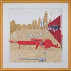 Leonard Rickhard <em>Stort høstbilde med rød maskin i tørt gress</em><br />Olje på lerret, 259x259 cm<br />pris og mål inkl. ramme