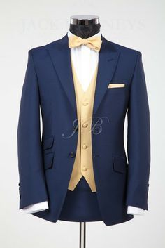 Mens Wedding Suits Blue, Vintage Wedding Groomsmen, Wedding Suit Bow Tie, Navy Blue Tuxedo Wedding Gold, Navy Tuxedo, Vintage Weddings, Navy And Gold ...