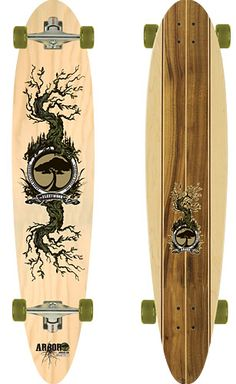 Companies such as Backyard Skateboards, BambooSK8, Arbor and Comet Skateboards uses bamboo, poplar and maple to make their decks. Comet Skateboards even uses waterbase paints and manufactures their boards in the worlds only solar-powered skateboard company.