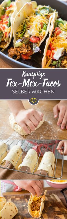 Harte Schale, würzig-weicher Kern: Knusprige Tex-Mex-Tacos Tacos with Cassian Tex-Mex combo from ground beef, cheddar, tomatoes, salad and sour cream. Burger Recipes, Grilling Recipes, Beef Recipes, Mexican Food Recipes, Vegetarian Recipes, Dinner Recipes, Healthy Recipes, Ethnic Recipes, Pizza Recipes