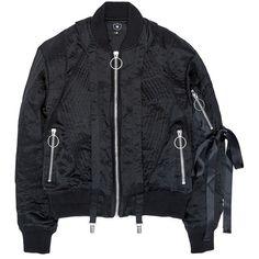 Nicopanda Satin ribbon trim lingerie bomber jacket ($790) ❤ liked on Polyvore featuring outerwear, jackets, black, bomber style jacket, ski jacket, blouson jacket, flight jacket and embellished jacket