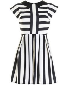 LOVE Black And White Stripe Prom Dress With Contrast Collar