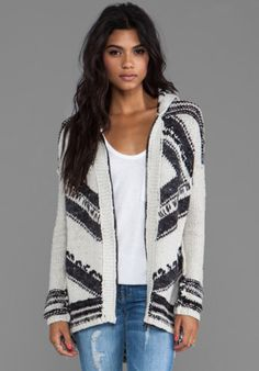 Free People Show Me the Way Fringe Cardigan in Black/White from REVOLVEclothing.com