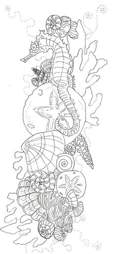 Free Coloring Pages, Coloring For Kids, Adult Coloring, Coloring Books, Colouring, Underwater Creatures, Underwater World, Art Therapy, Marine Life