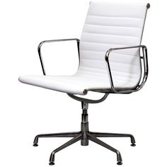 White Genuine Leather Ribbed Mid Back Conference Office Side Chair   Overstock.com