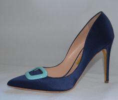 14330613734 Rupert Sanderson Navy Blue Satin high heel pumps with turquoise pebble  UK7 EU40