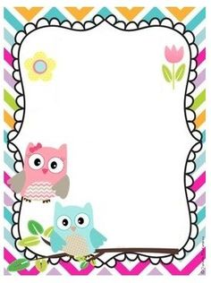 """Cute Owls"": ""I Love You So, Darling"" letter pad Page Borders Design, Border Design, Borders For Paper, Borders And Frames, Owl Theme Classroom, Owl Clip Art, School Frame, Diy And Crafts, Paper Crafts"