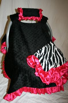 Double Minky Car Seat Acessories: zebra and hot pink...my favorite one so far!