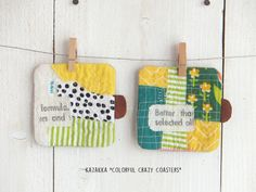 Crafts From Recycled Materials, Japanese Sewing Patterns, Mug Rugs, Fabric Scraps, Textiles, Quilt Patterns, Handicraft, Diy And Crafts, Sewing Projects
