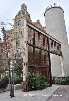 metal mesh trellis entrance to public plaza at former Pearl Brewery, San Antonio TX (Christine Ten Eyck design)
