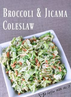 A little twist on classic coleslaw. Perfect side dish for your upcoming BBQ. Broccoli and Jicama Coleslaw http://www.coffeewithus3.com/broccoli-jicama-coleslaw/