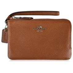 Coach Double Zip Wristlet ($86) ❤ liked on Polyvore featuring bags, handbags, clutches, saddle, genuine leather purse, brown wristlet, double zip wristlet, coach clutches and brown leather handbags