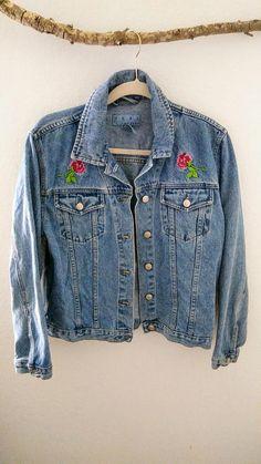 Oversized Vintage jean jacket with rose Stitch/ size medium Bohemian Style, Bohemian Fashion, My Etsy Shop, Denim, Trending Outfits, Tees, Jackets, Shopping, Vintage