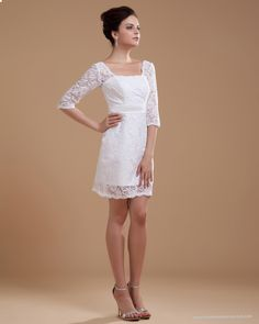 Three Quarter Sleeve Lace Square Neck Short Wedding Dress
