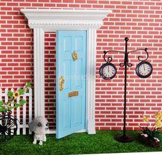 1:12 Dollhouse Miniature Luxury Wooden Blue Exterior Door 6 Panel w Key