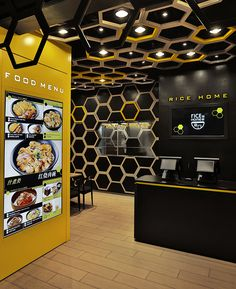 Love the use of highlight colors on certain hexs.  Rice Home Restaurant Guangzhou AS Design Studio