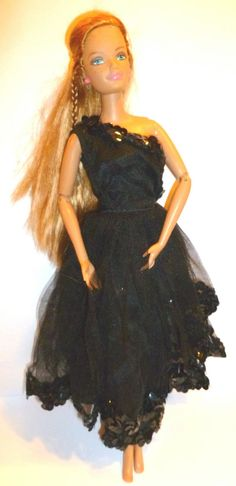 Halina's Doll Fashions Of Chicago Black Cocktail Dress Tulle Net Vintage Barbie…
