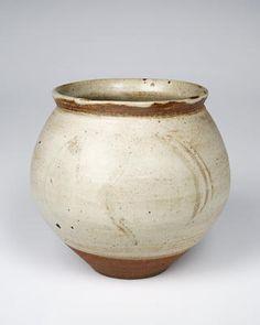 Bernard Leach, Vase, stoneware, slightly everted rim, stoneware, dark body (39) white slip overall