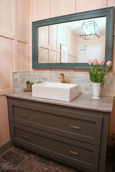 Ladies room bathroom makeover. A must see before and after makeover