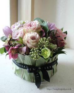 Floral Arrangement ~ Tempting Tulips - Covered Bowl