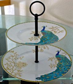 222 Fifth Peacock Garden 2 Tier Serving Tray Turquoise Gold White Porcelain  New