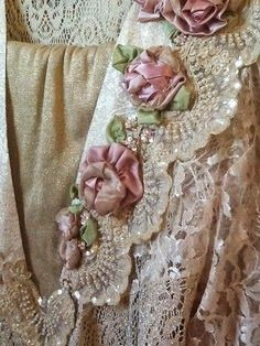 Pink roses on lace