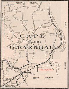 Cape Girardeau County, Missouri 1904 Map Jackson, Bufordville, Fruitland, Pocahontas, Dutchtown, Houck, MO