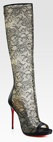 Made in Italy this elegant floral lace mesh with satin open toe boot comes from Christian Louboutin collection.