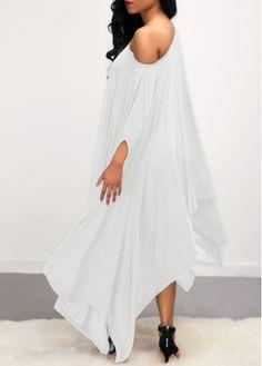 2eb2ed303befb Asymmetric Hem Batwing Sleeve White Dress