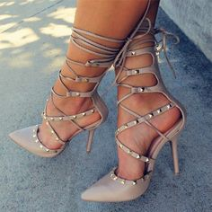 Share to get a coupon for all on FSJ Nude Strappy Heels Pointed Toe Rivets Shoes Stiletto Heels Pumps Hot Heels, Sexy Heels, Strappy Heels, Pumps Heels, Stiletto Heels, Nude Pumps, Flats, Studded Heels, Tan Lace Up Heels