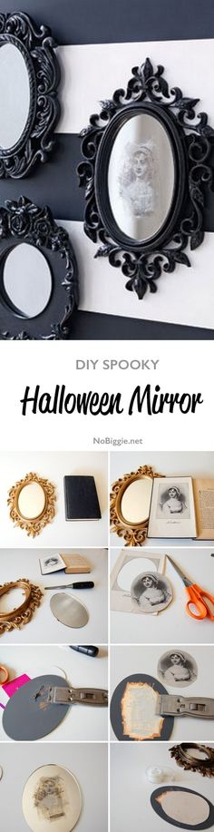 DIY spooky Halloween Mirror | get the full tutorial on NoBiggie.net