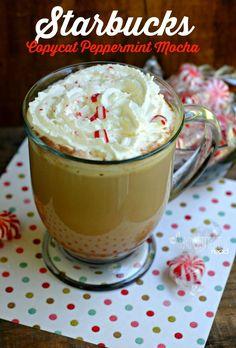 Easy copycat Starbucks recipe. Save money on your coffee by making it yourself!! Copycat Starbucks Peppermint Mocha Recipe