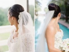 High and Low Bun with Veil - 30 Best Wedding Bun Hairstyles - EverAfterGuide