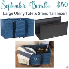Thirty-One September Bundle with Large Utility Tote and Stand Tall Insert