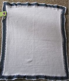 White with Blue Trim Knit Baby Blanket