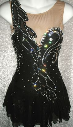 Designer Figure Skating Dress, Black Velvet, Black Lycra, Black Mesh, Appliques and Cutouts with Clear Genuine Swarovski Crystals