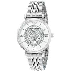 Emporio Armani AR1925 Watches (£195) ❤ liked on Polyvore featuring jewelry, watches, silver, military bracelet, stainless steel jewelry, military fashion, water resistant watches and stainless steel bracelet
