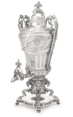 A large and massive French silver hot water urn, Gustave Odiot, Paris, circa 1867