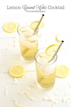 this easy and delicious cocktail will become you next go to drink, combining coconut water, lemon and Tuaca citrus vanilla liqueur  | #recipe #Healthy @xhealthyrecipex |